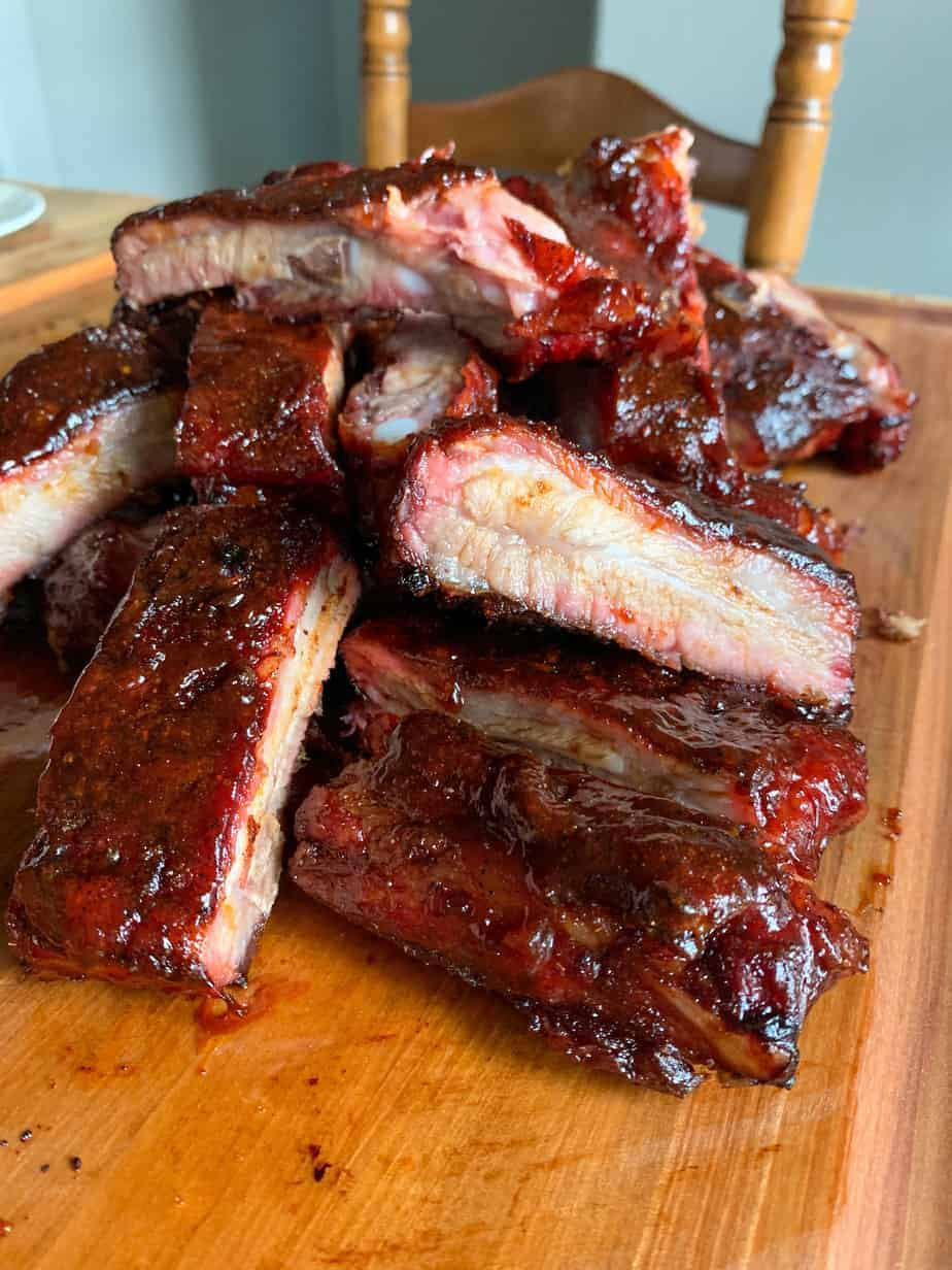 Pile of Smoked Spare Ribs on a cutting board