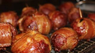 Smoked Bacon Wrapped Stuffed Meatballs