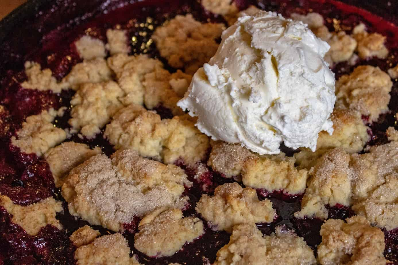 Smoked Huckleberry Cobbler Recipe with Ice Cream