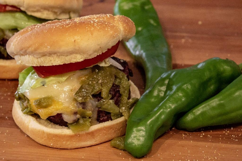 Smoked Hatch Chile Cheeseburger with Chiles