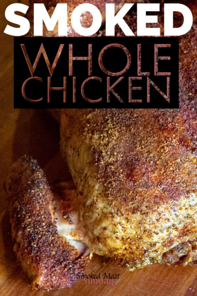 Looking for an easy smoked whole chicken recipe? You definitely want to check this out! It starts with a simple beer brine, and ends with moist, tender, and flavorful chicken. #traegerrecipes #pelletgrill #bbq #smokedchicken