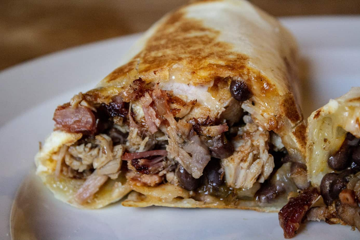 Cheesy Pulled Pork Burrito