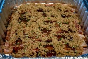 Bacon covered with maple syrup, brown sugar, and rosemary