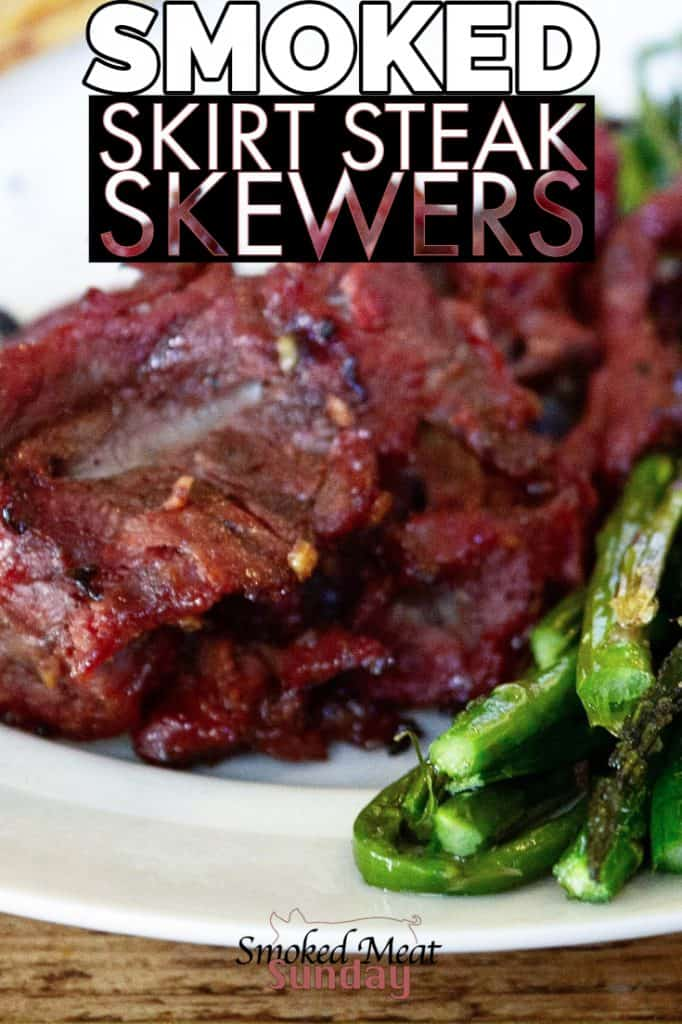 Once of my favorite weeknight bbq meals. These skirt steak skewers are easy to make on your smoker or pellet grill, and they taste delicious! Original recipe can be found here: https://www.simplyrecipes.com/recipes/grilled_skirt_steak_skewers/ #pelletgrills #bbq #traeger #traegerrecipes #bbqrecipes #smokedmeats