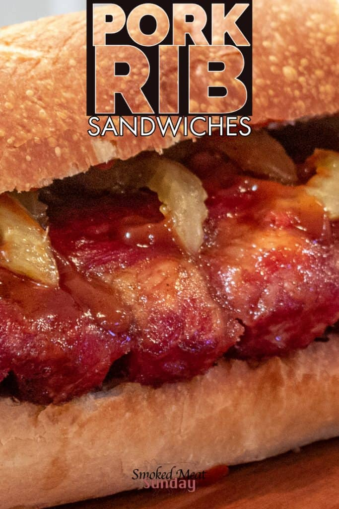 BBQ pork rib sandwiches - smoked low and slow, and then placed on a sourdough roll. This is a simple pellet grill recipe. Tender smoked ribs - pickled onions - #traegergrills #traegerrecipes #traeger #smokedmeats #bbqrecipes