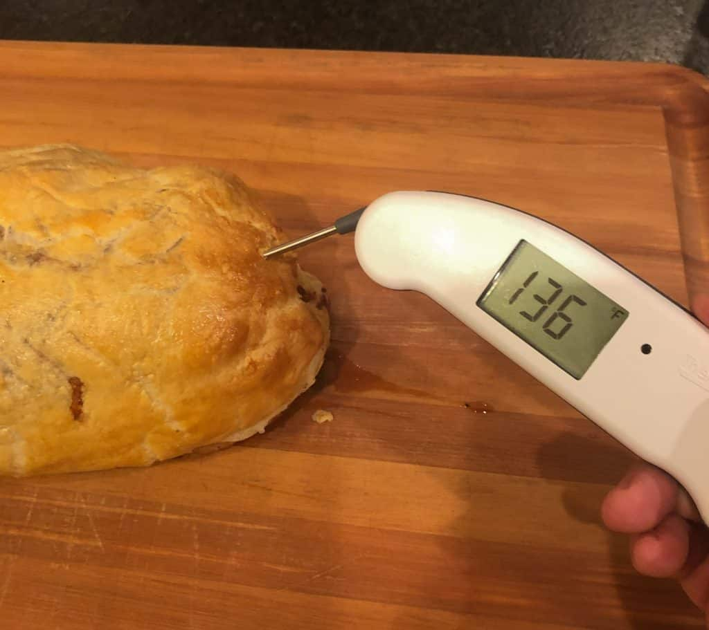 smoked beef wellington - checking the temp