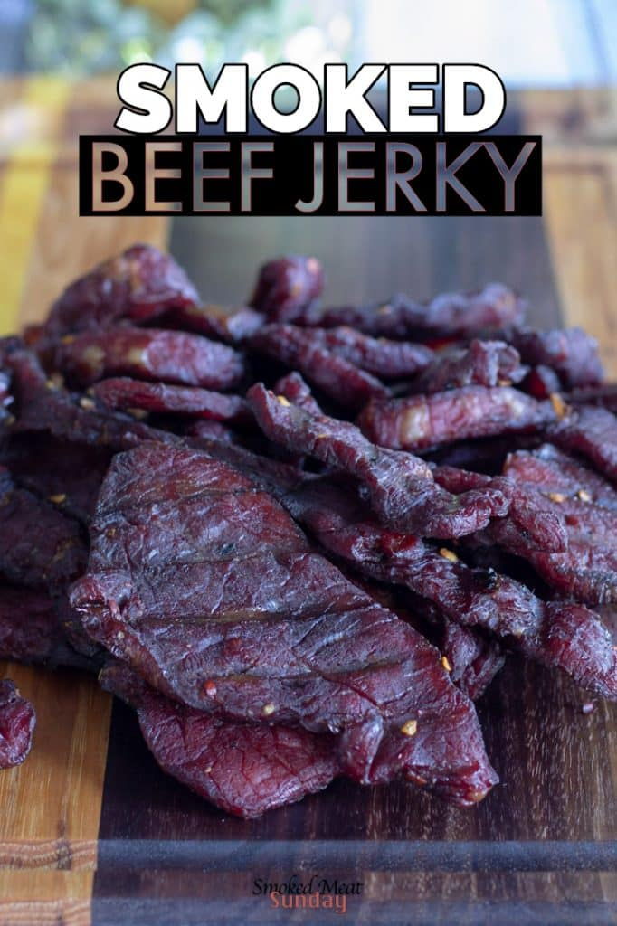 This is my favorite way to make beef jerky on a smoker. It's a simple recipe that produces consistent results every single time. #beefjerky #smokedmeat #traegerrecipes #pelletsmoker #elk #beef #venison #jerky