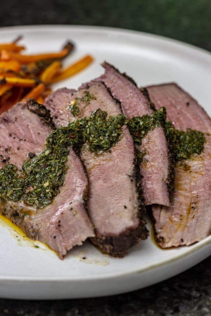 Smoked Tri Tip with Carrot Top Chimichurri