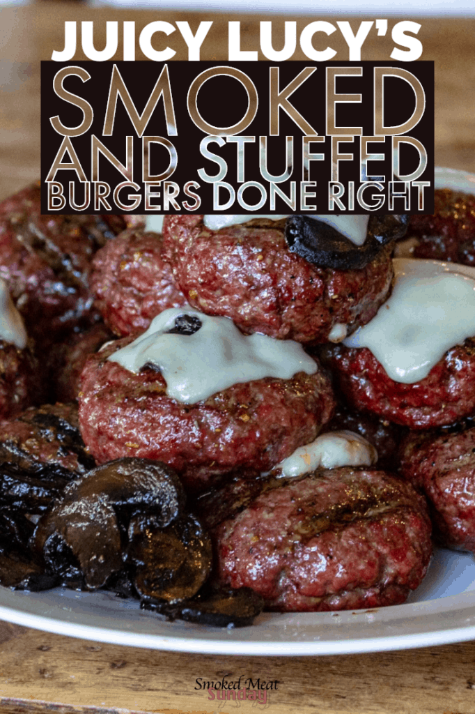 Have you ever had a stuffed burger? In the midwest they're called a Juicy Lucy.  This smoked and stuffed hamburger recipe is the best way to make burgers on a Traeger grill or pellet smoker.   #bbq #TraegerRecipes #Barbecue #hamburgers #familyfood