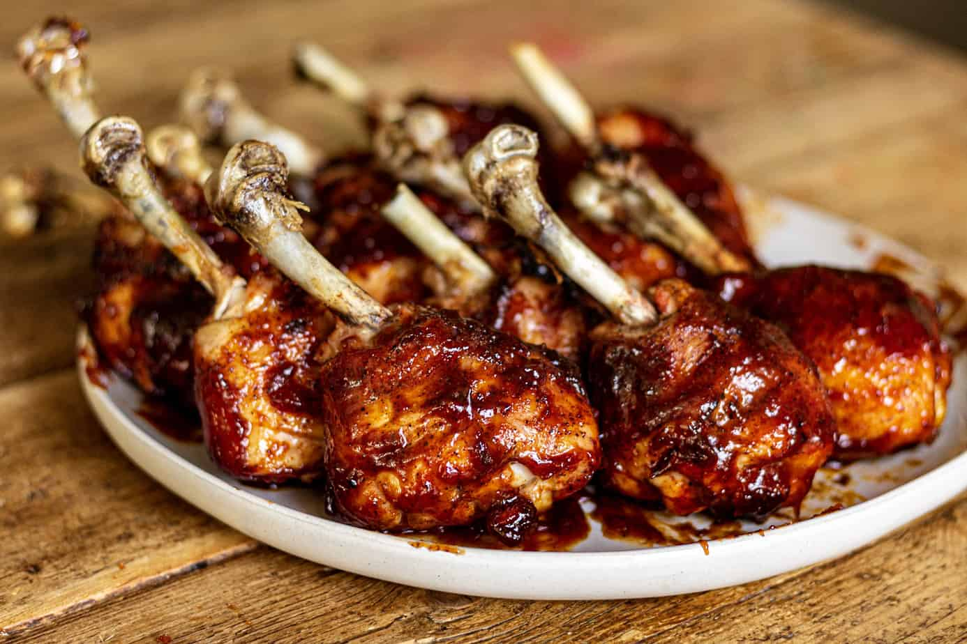 BBQ Chicken Lollipops on a plate
