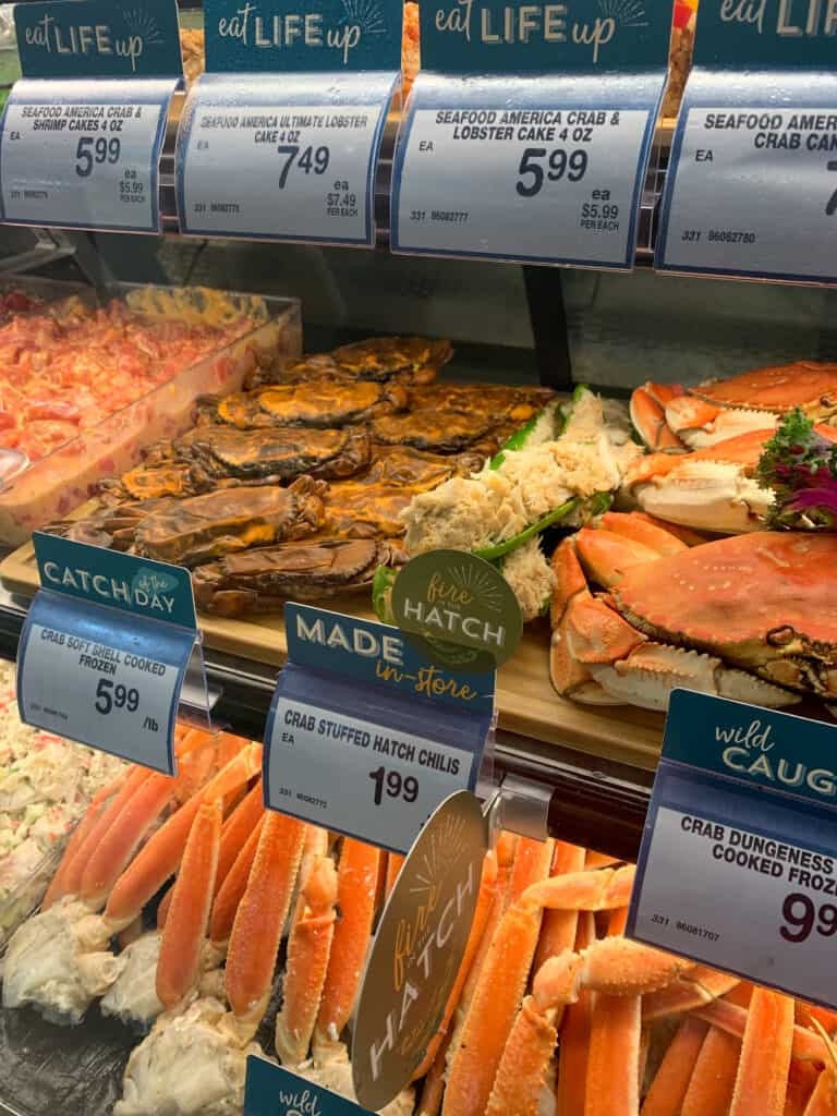 hatch chile stuffed crabs in the seafood section at Albertsons