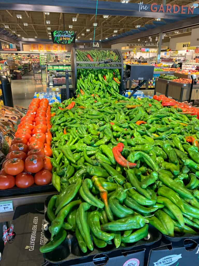 hatch chile display in Albertsons