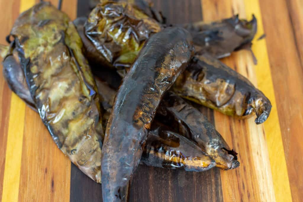 roasted hatch chiles for the mac and cheese