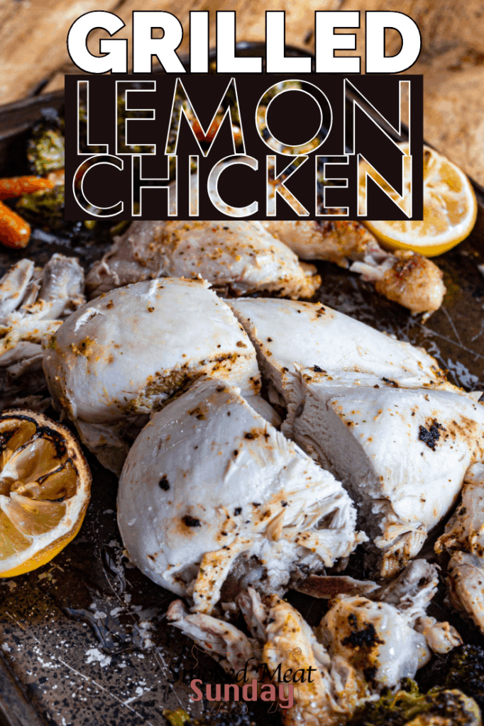 This simple lemon chicken recipe uses a flavored olive oil from Secolari. The recipe only requires 4 ingredients, and takes just an hour to cook on the grill! If you're looking for a tasty grilled chicken recipe, check this out! #bbq #traegerrecipe #smokedchicken #lemonchicken