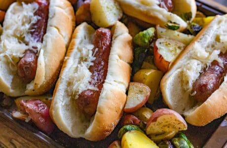 smoked brats with potatoes and brussel sprouts