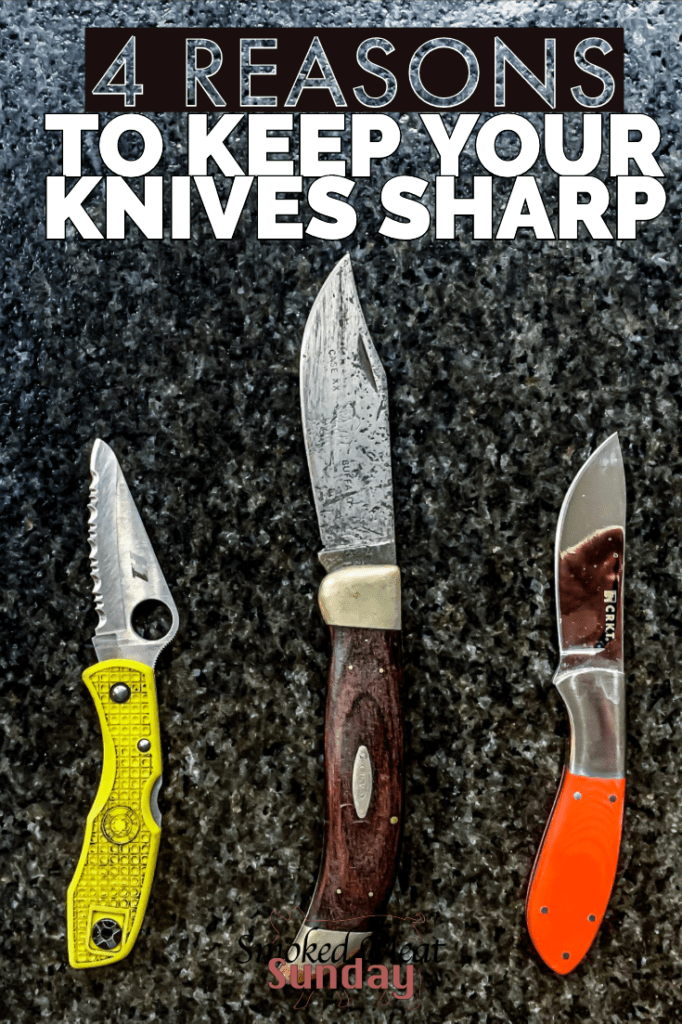 Are the knives in your kitchen sharp? Here are 4 reasons why all your knives should be sharp, and a great tool I recommend to keep your knives sharp all the time. #knives #kitchentips #knifesharpener #knife