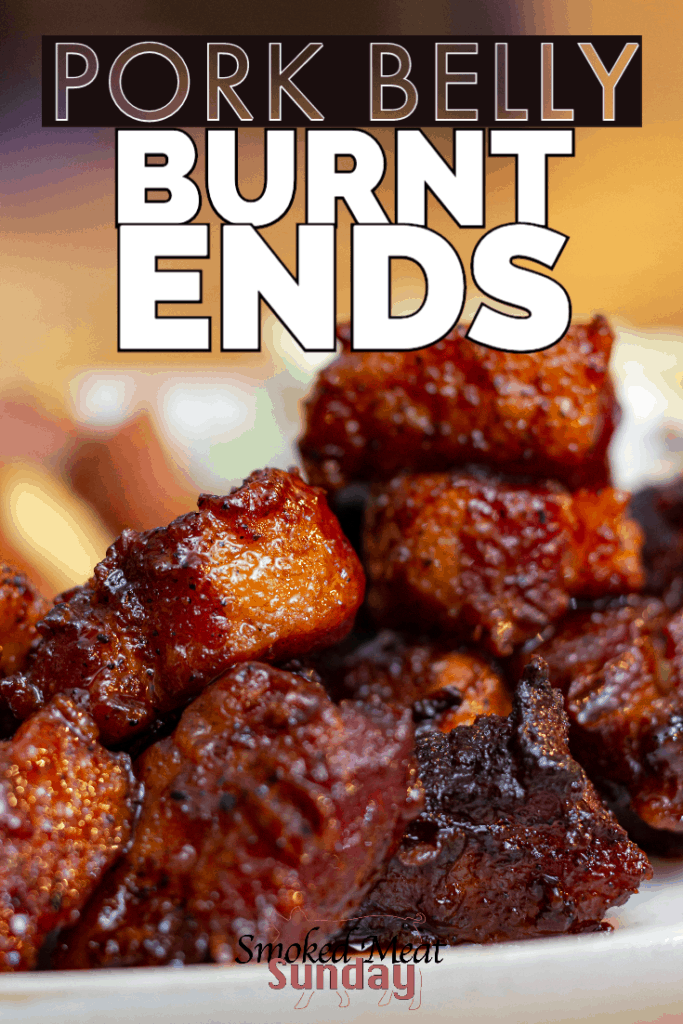Smoked Pork Belly Burnt Ends - My favorite thing to make in a smoker If you're looking for a yummy smoked meat recipe, this is it! These burnt ends are smoked and sauced, and the end result is some of the best bbq you'll ever taste. #traegerrecipe #bbq #smokedmeat