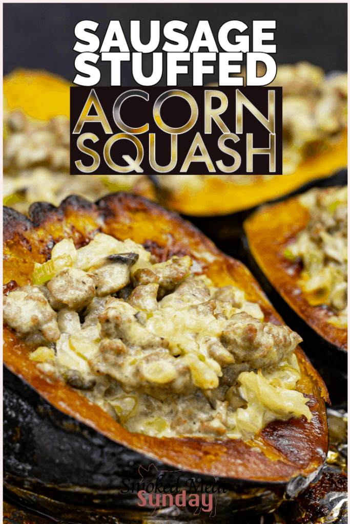 Sausage Stuffed Acorn Squash is a tasty meal that can be made in your smoker, or in the oven! If you're looking for a fun and unique weeknight dinner idea, this is a great option! #traegerrecipe #bbqidea #dinner #acornsquash #fallrecipe