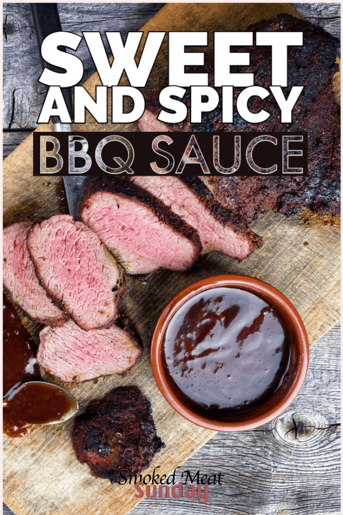 This sweet and spicy bbq sauce recipe is easy to make and uses common ingredients. The spicy honey adds a unique twist that will have your taste buds craving more.  #bbqsauce #sauce #smokedmeat #bbq #madefromscratch #traegerrecipe #traegergrills
